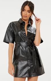 black on up tie waist pu shirt dress image 1