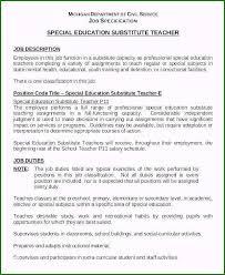 Teacher Resume Objective Sample Substitute Teacher Job Description For Resume Awesome Sample