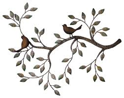 metal wall art birds on a branch