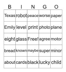 5 letter words bingo card