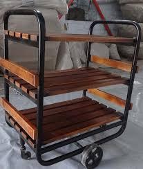 industrial furniture wheels. Industrial Trolley, Mango Wood Shelves With Cast Iron Wheels. Kitchen Furniture In Design Wheels