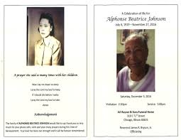 Alphonse Beatrice Johnson Obituary | AA Rayner and Sons Funeral Home