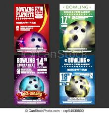 Bowling Event Flyer Bowling Poster Set Vector Design For Sport Bar Promotion Bowling Ball Modern Tournament Sport Event Announcement Banner Advertising Championship