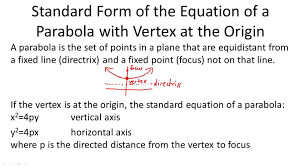 standard form of the equation of a parabola with vertex at the origin overview