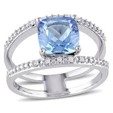 blue topaz and diamond accent sterling silver zoomed image