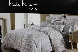 com nicole miller brown taupe beige blue paisley queen comforter set cotton home kitchen