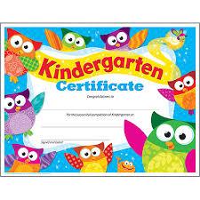 Kindergarten Certificate Owl Stars Pk K Certificates