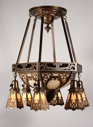 large antique brass eight light chandelier with original slag glass early 1900s