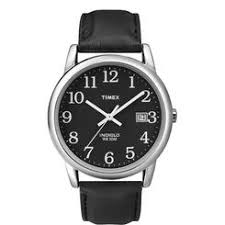 timex men s watches sears timex men s easy reader black leather strap w black dial casual watch t2n370 timex