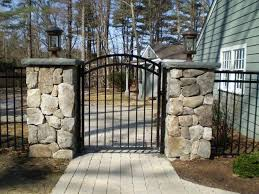 metal fence gate. Metal Iron Fence Gate Design For Farmhouse Ideas With Paved Walkway W