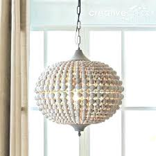 white beaded chandelier creative co op chandeliers metal wood beads wash a home chandelie
