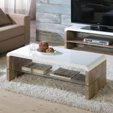 high gloss coffee table available in white oak effect with glass shelf