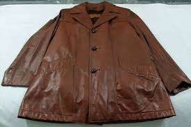 vintage 1970 s william barry brown leather jacket 40 w liner disco donnie brasco