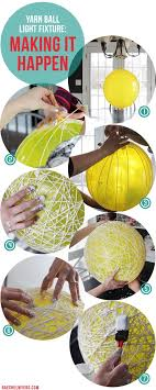 diy yarn ball light fixture