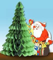 Vintage Christmas Honeycomb Decorations ~ Santa w/ Christmas Tree by Beistle