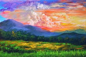 Sunset in the Mountains Painting by Bernie jay Antiquando