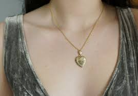 gold fill etched heart picture locket