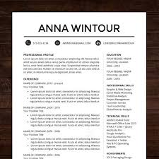 modern resume template   cv template for word  mac or pc    instant download �  professional resume cv template design for ms word    quot the wintour