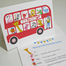 personalised london bus party invitation