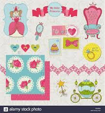 Art Design For Scrapbook Princess Girl Set For Design And Scrapbook In Vector