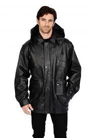 home mens 3 4 length leather parka black