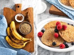 ripe bananas and buckwheat are the main ings for these easy buckwheat banana pancakes
