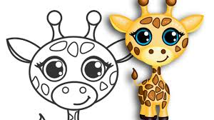 how to draw a giraffe super cute easy step by step drawing you