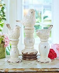 amazon com set of 3 rustic ceramic shabby chic bird finials decor