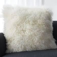 Mongolian fur pillows Black Pellicciapillowivory23inshs16 Crate And Barrel Pelliccia Ivory 23