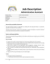 Administrative Assistant Resume Duties Office Job Description Sam