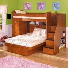 Bedroom:Spacious Bedroom Design With Floral Bed Sheet And Wooden Space  Saving Bunk Bed Ideas