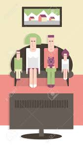 family watching tv clipart. family on the couch watching tv, vector cartoon illustration, flat design stock - tv clipart