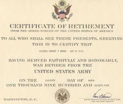 Major Robert F Burns Army Retirement Certificate