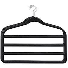 HOUSE DAY Pack of 4pcs Black 4 Tier Hanger Velvet Scarf Clothes Hangers for  Multiple Pants