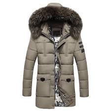 winter wear men s big hair collar cotton clothes fashionable and casual pure color long style