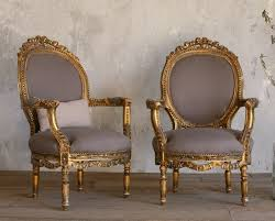 Vintage Gilt Louis XVI French Style Hand Carved Armchairs Pair Roses