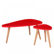 2 pcs coffee table set mdf with heigh gloss red painting wood leg