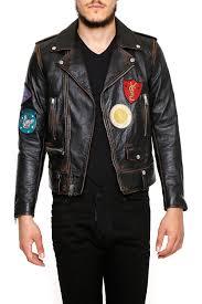 men clothes coats vintage effect leather biker jacket igd8kjbqh