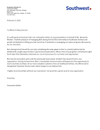 Letter To Airline Letter Of Recommendation Southwest