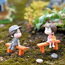 bench sweety couple figurines miniatures fairy garden gnome moss terrariums handmade crafts decoration accessories diy