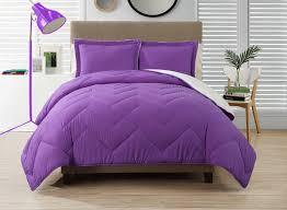 solid purple chevron bedding