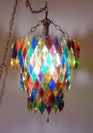 vntg mid century hollywood regency lucite jewel harlequin swag lamp chandelier