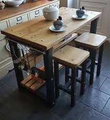 Kitchen islands with breakfast bar Stools Image Is Loading Rustickitchenislandbreakfastbarworkbenchbutchers Ebay Rustic Kitchen Island Breakfast Bar Work Bench Butchers Block With