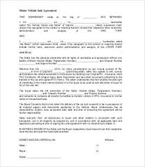 Motor Vehicle Sale Agreement Sales Agreement 28 Free Word Pdf Documents Download