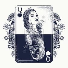 Fototapeta Queen Hrací Karty A Secesní Květiny Tetování A Tričko Design