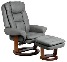leather swivel recliner chair reclining with ottoman bonded attached side table and black hereford stool