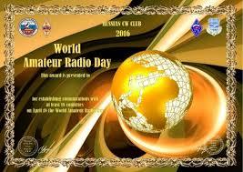 Международный день радиолюбителя апреля условия получения  Диплом