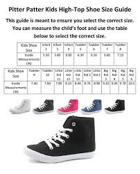 Pitter Pat Shoes Size Chart Pitter Patter Classic Kids Unisex Canvas High Hi Top Sneakers Infant To Big Kid Sizes Chukka Shoes