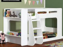 short height bunk bed extra low bunk with storage shelf white finish
