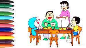 Blog ini berbagi gambar dan foto dengan kualitas yang baik. Menggambar Dan Mewarnai Doraemon Keluarga Nobita Makan Malam Kartun Youtube